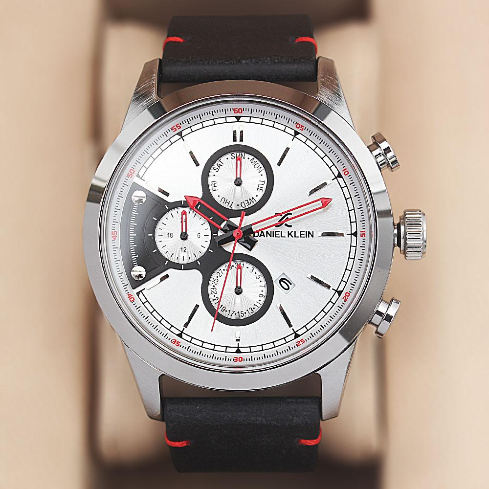 Daniel Klein Silver Black Leather Watch