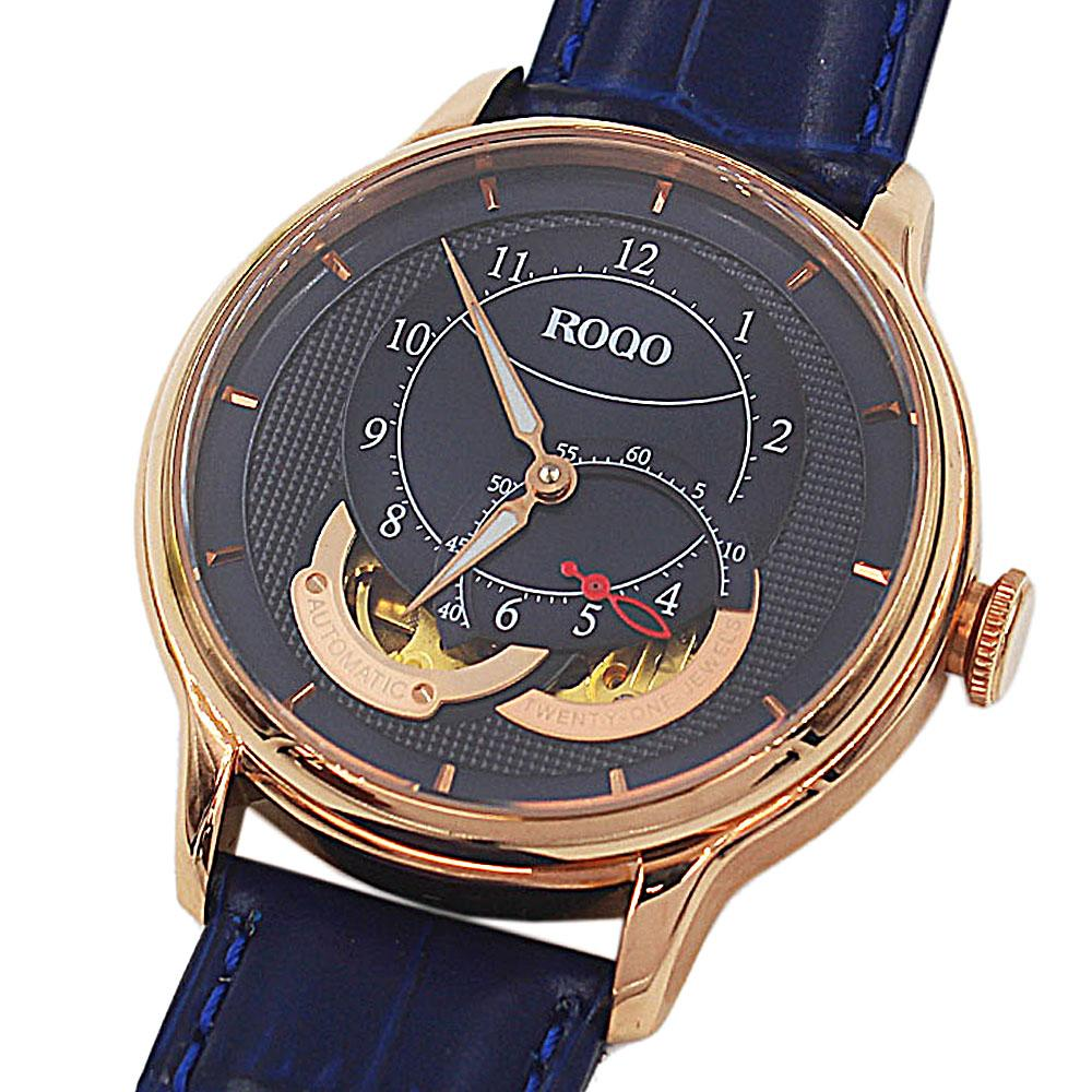 Twenty One Jewel Rose Gold Blue Croc Leather Automatic Watch