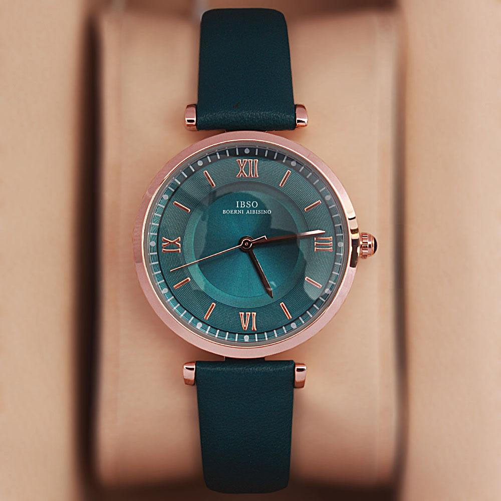 Vintage Green Leather Slim Ladies Watch