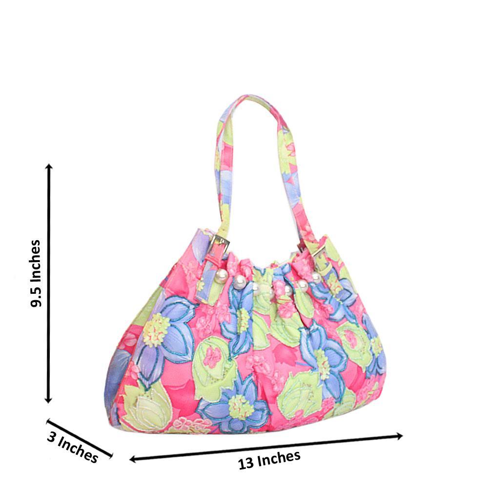 Pink Blue Mix Cinderella Floral Fabric Hobo Bag