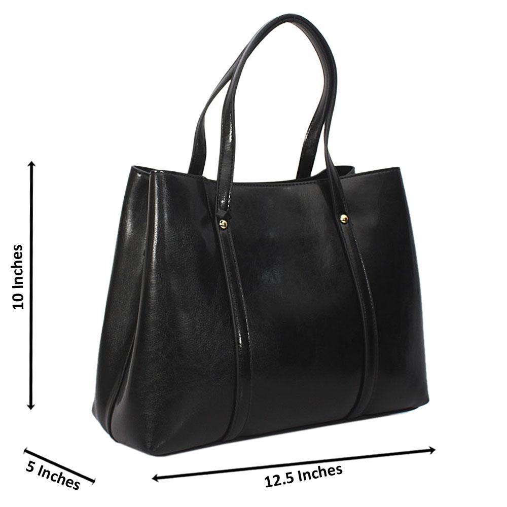 Black Bella Smooth Leather Tote Handbag