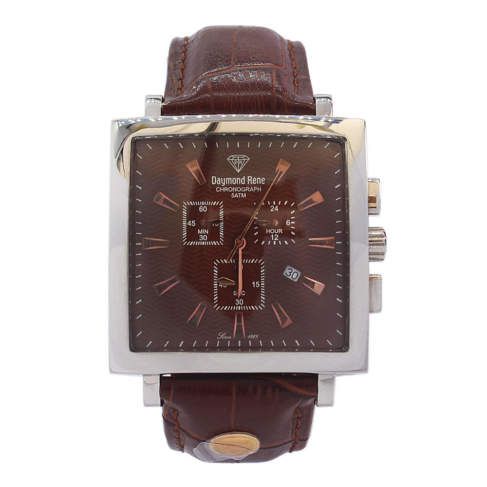 DR 5ATM Silver Brown Leather Chronograph Watch