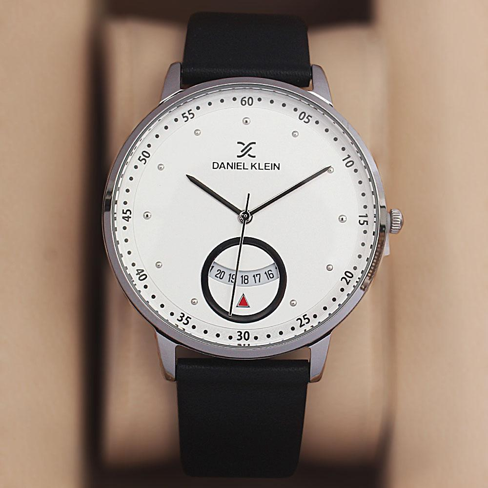 Daniel Klein Aticcus Black White Leather Watch