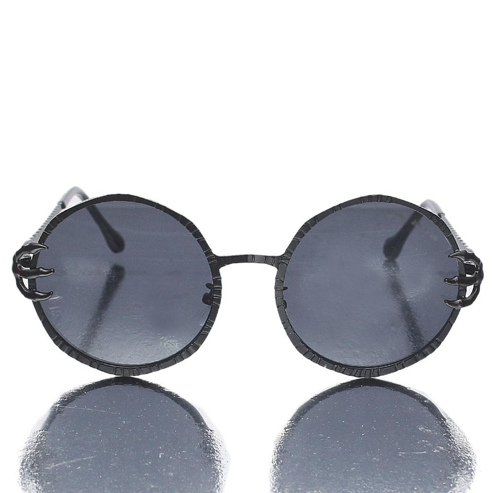Black Etched Round Face Sunglasses