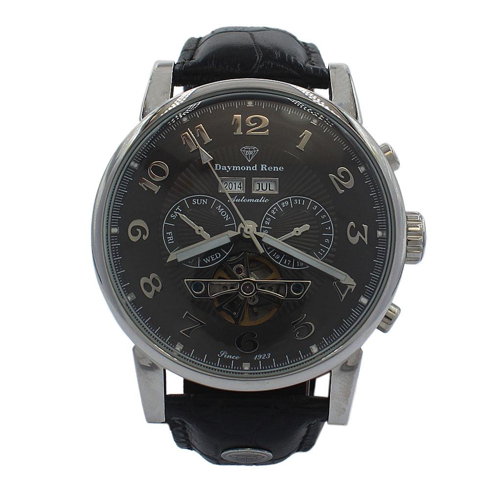DR 3ATM Silver Black Leather Chronograph Automatic Watch