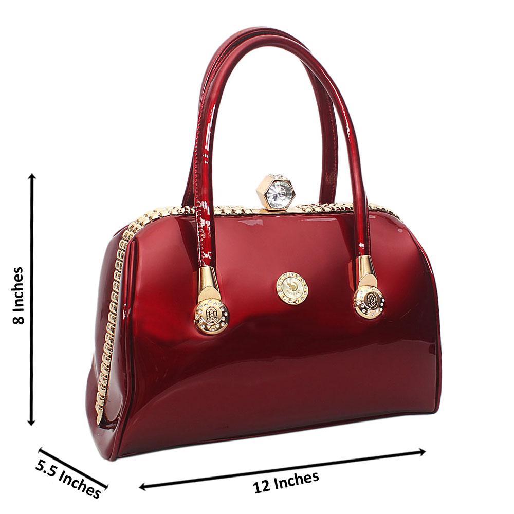 Wine Botwang Patent Leather Tote Handbag