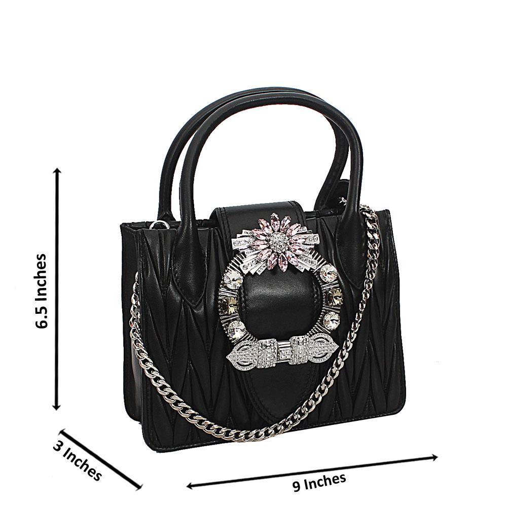 Black Crytals Mini Handbag