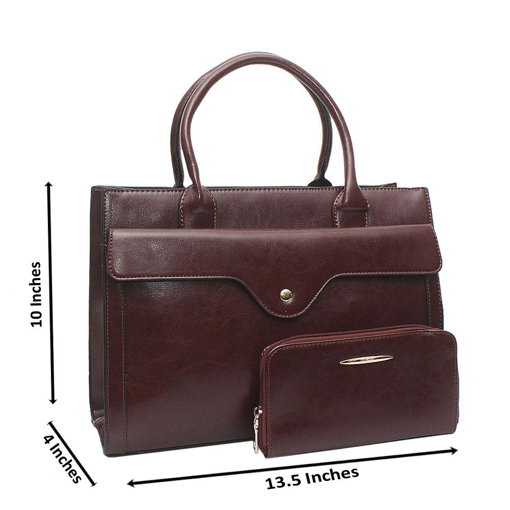 Autograph Coffee Brown Leather Bag Wt Purse