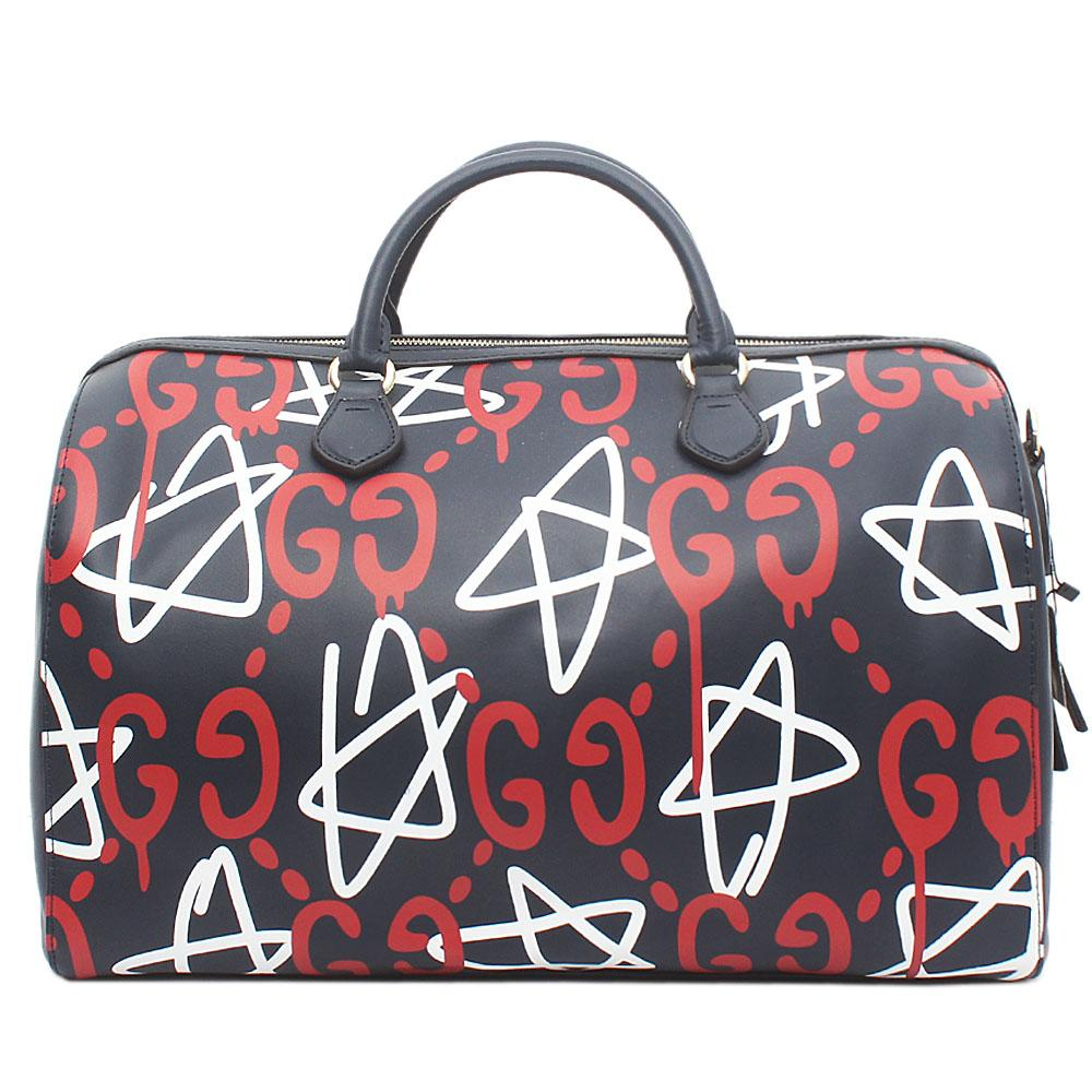 Gucci Navy Red White Leather Tian GG Supreme Duffle Bag