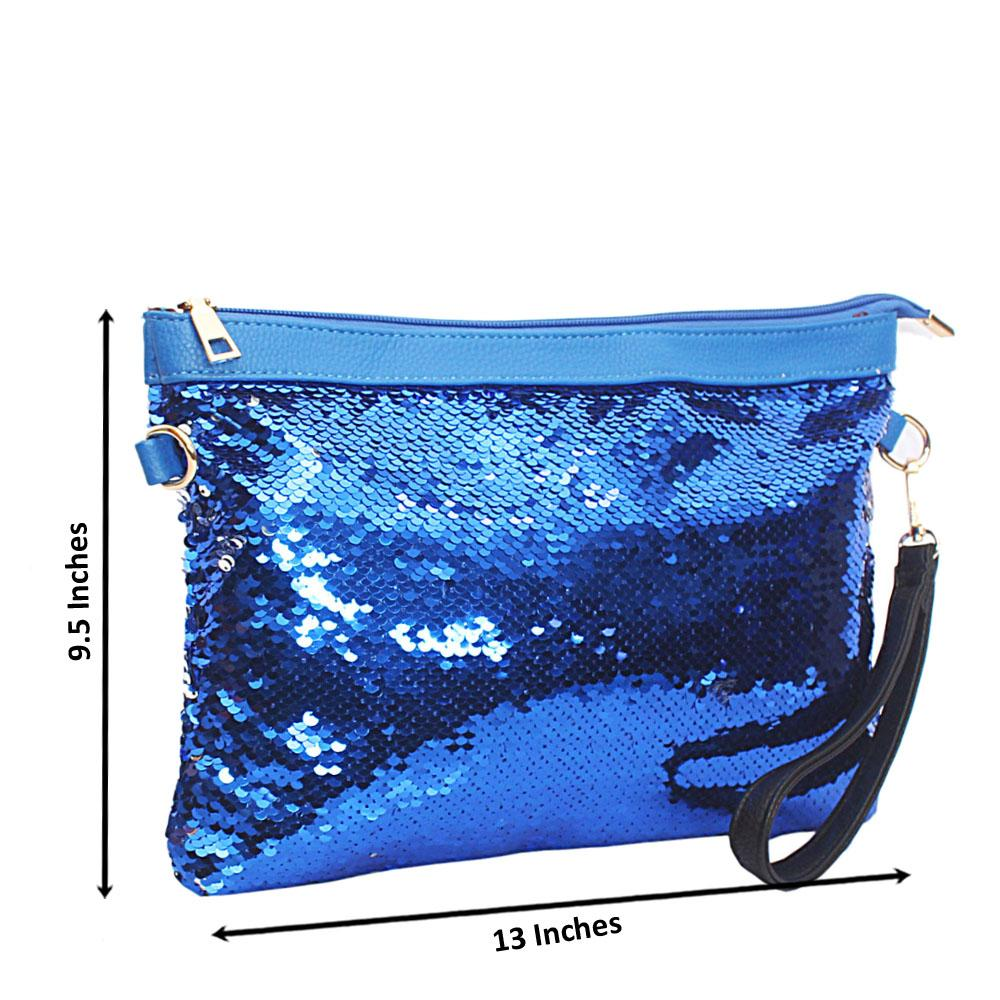 Royal Blue Silver Crystal Reversible Sequins Flat Bag