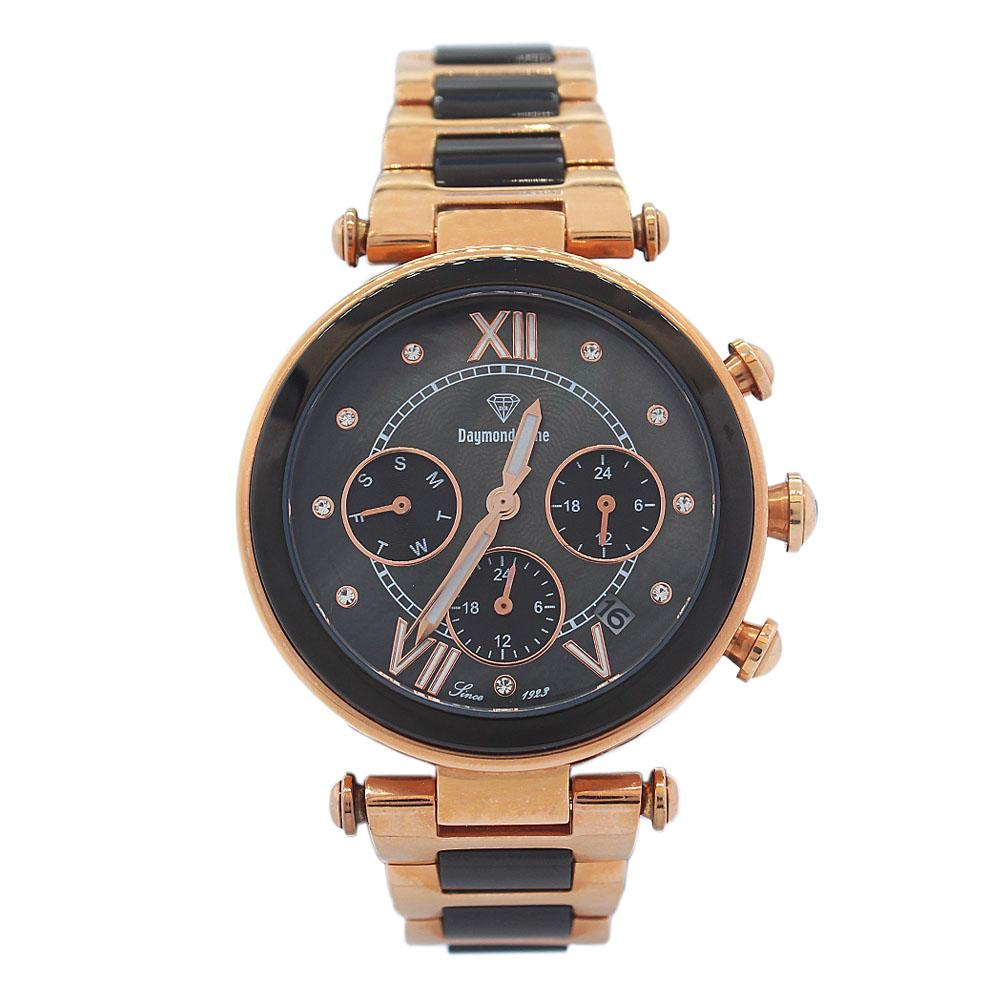 DR 5ATM Rose Gold Black Ice Stainless Steel Ladies Watch