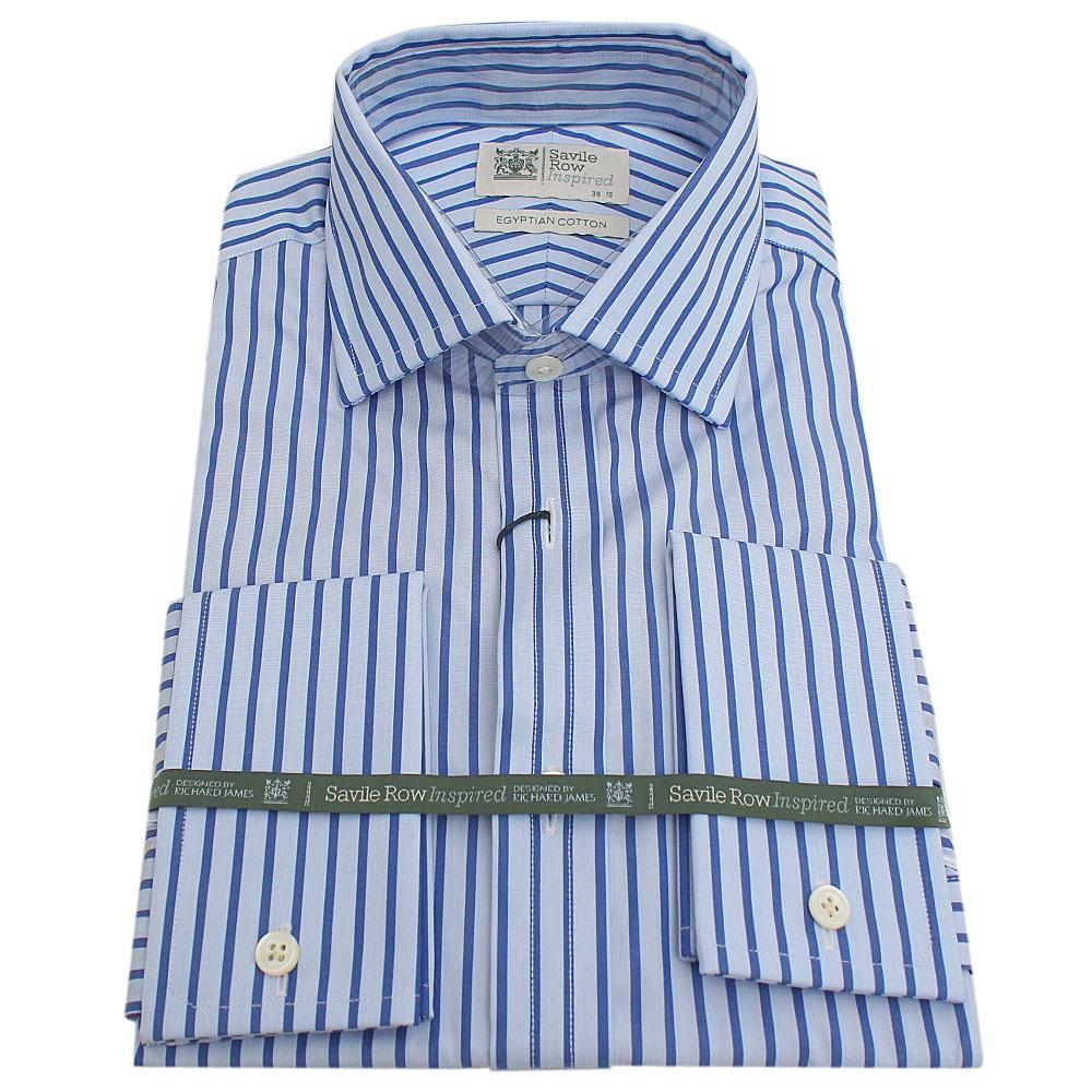 Savile Row Blue Stripe Egyptian Cotton L/Sleeve Men Shirt