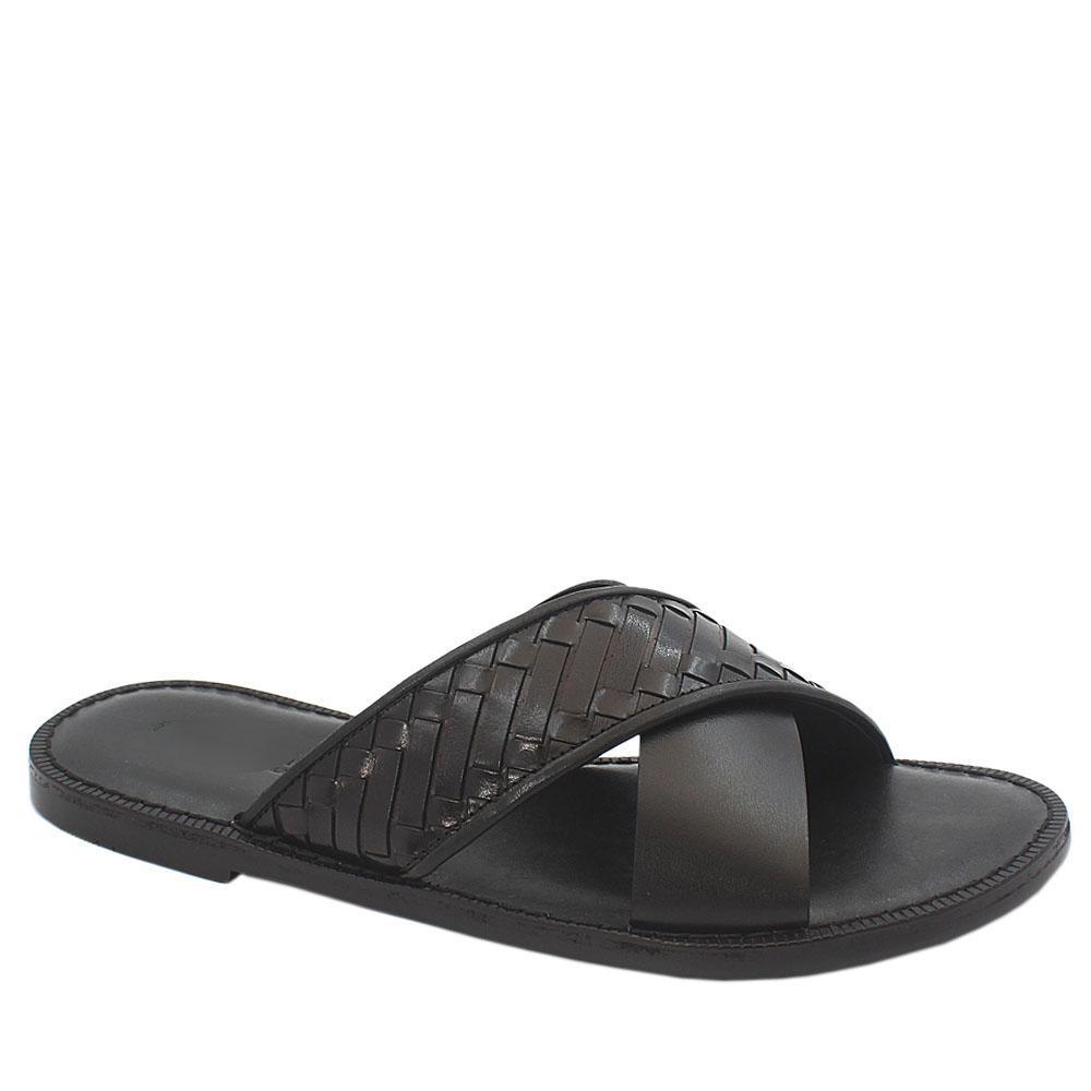 Black-Crossed-Woven-Italian-Leather-Men-Slippers