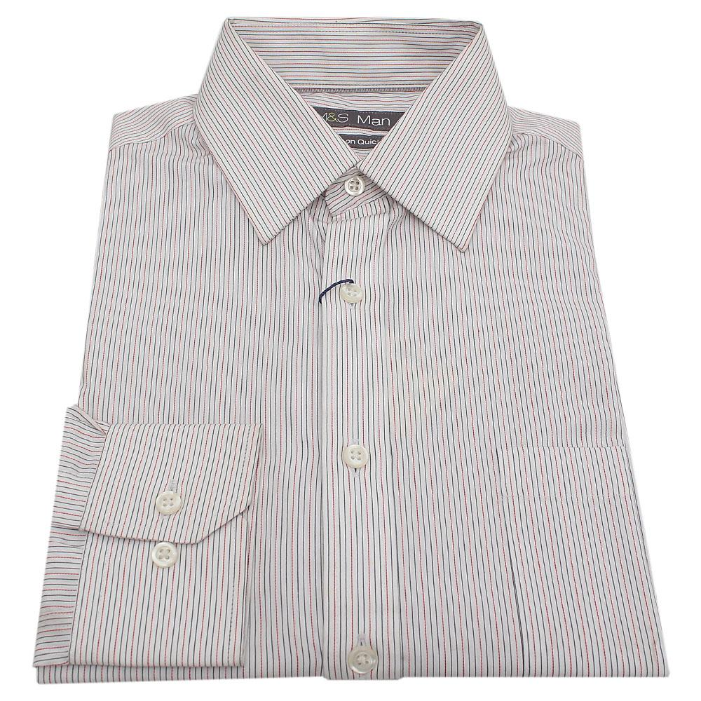 M & S Man White Stripe Men's L/Sleeve Shirt
