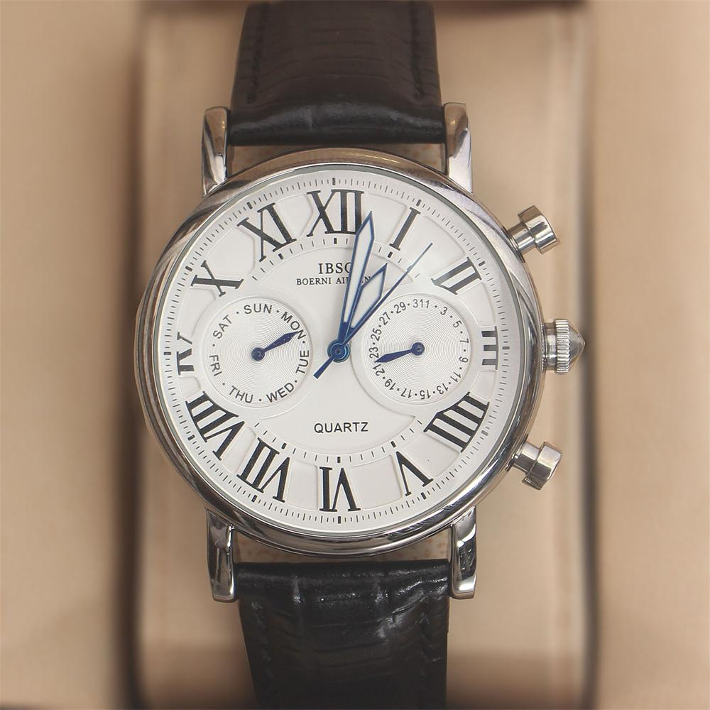 Martinez Silver Black Leather Classic Ladies Watch