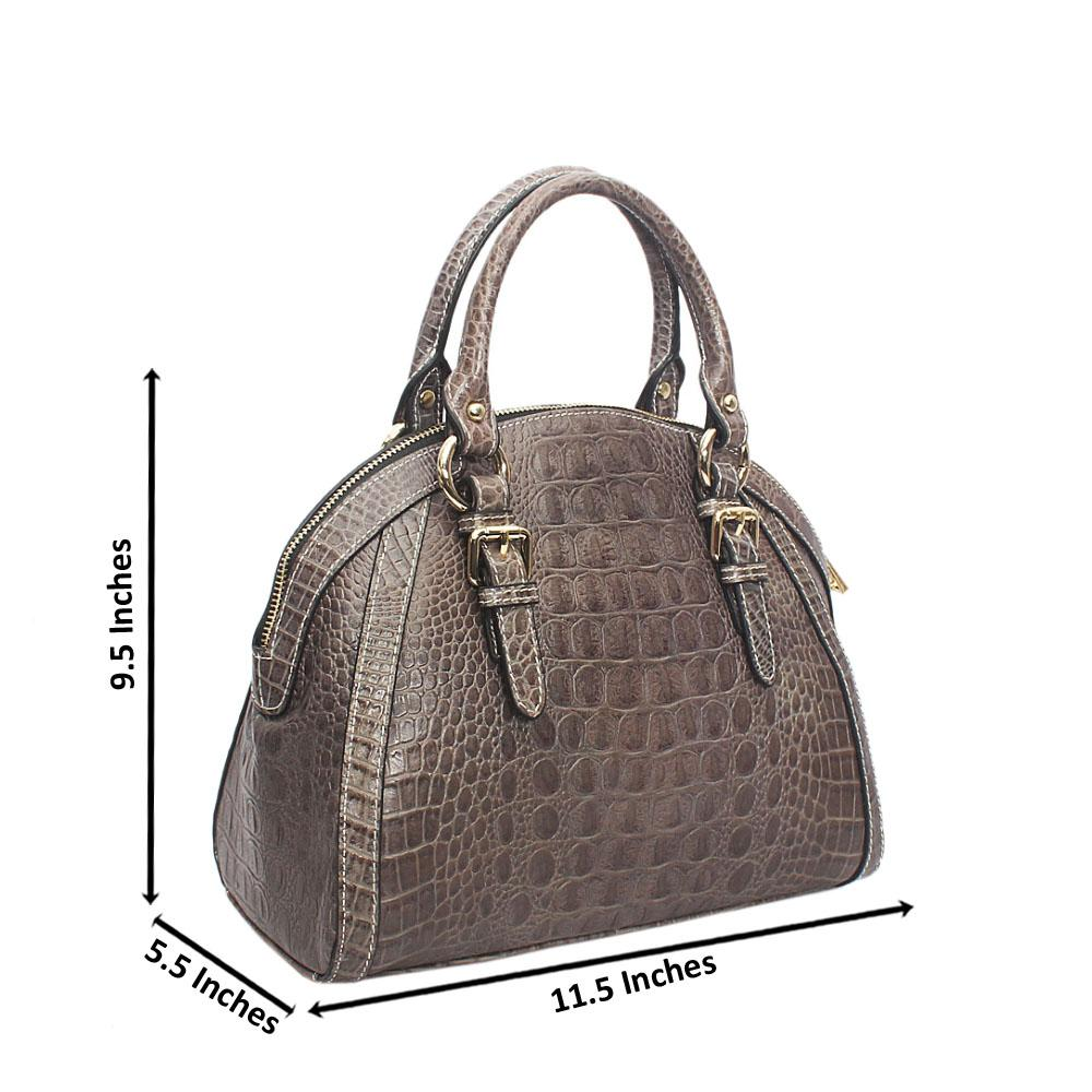 Buttercup Gray Croc Montana Leather Handbag