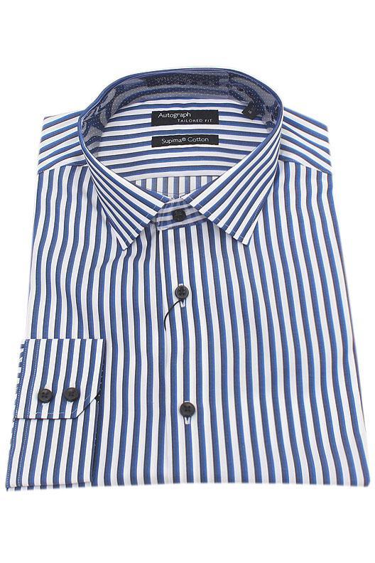 Autograph Blue White Stripe Supima Cotton Men Shirt