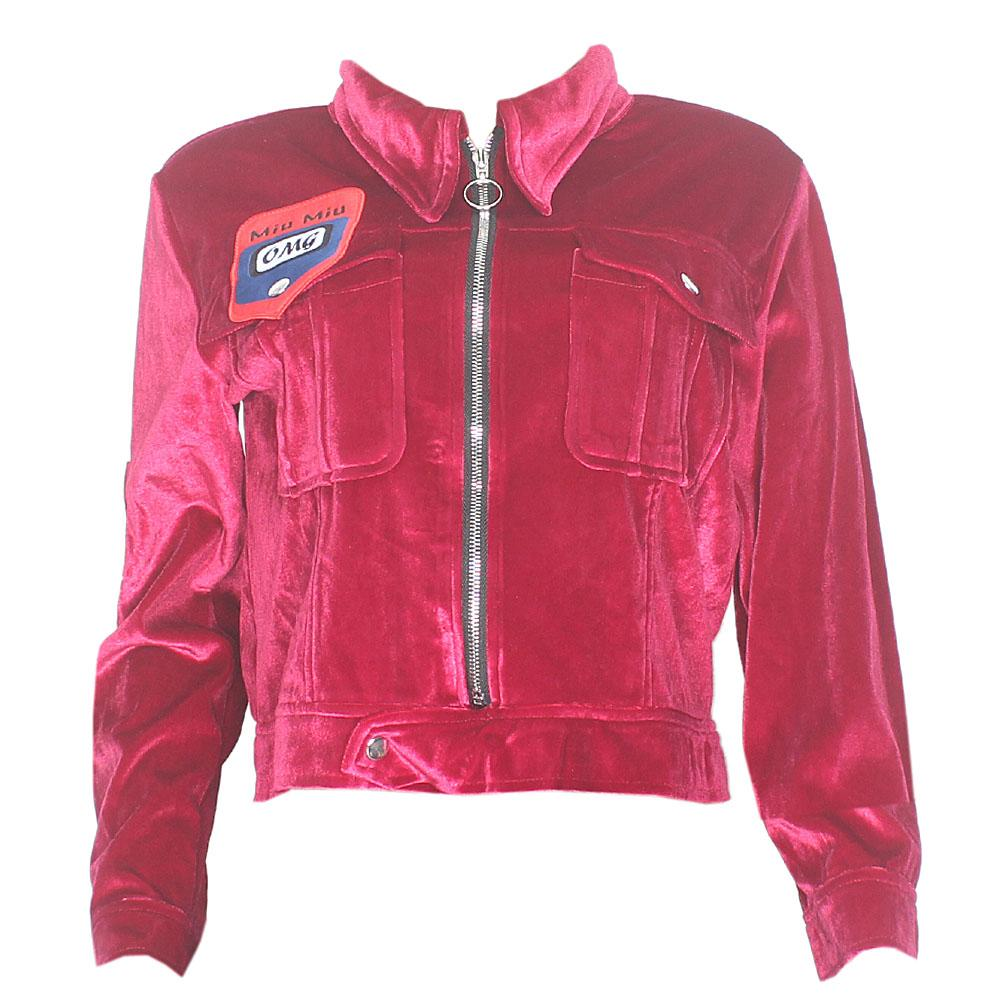 Miu Miu Wine Corduroy Ladies Jacket