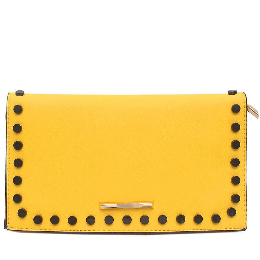 Yellow Studded Leather Flat Clutch