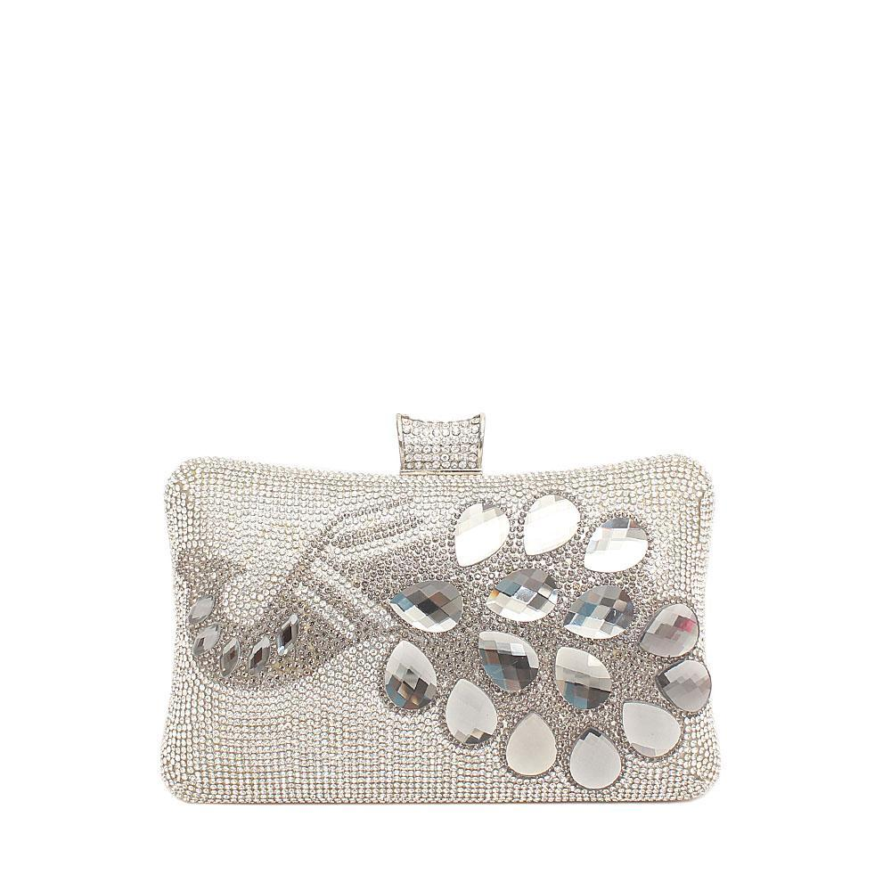 Fashion Silver Studded Clutch Purse