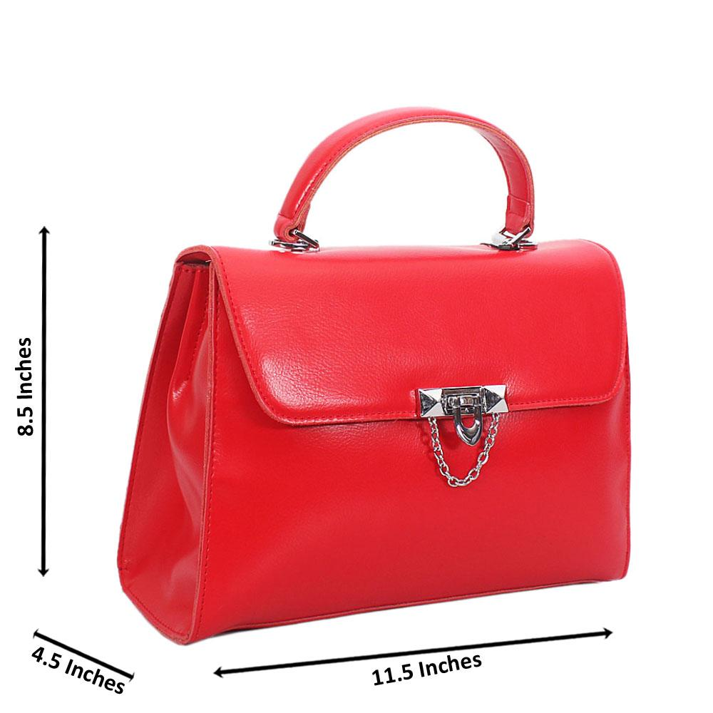 Red Mia Montana Leather Top Handle Handbag