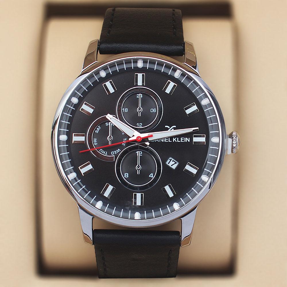 Daniel Klein Aticcus Black Silver Steel Leather Pilot Series Watch