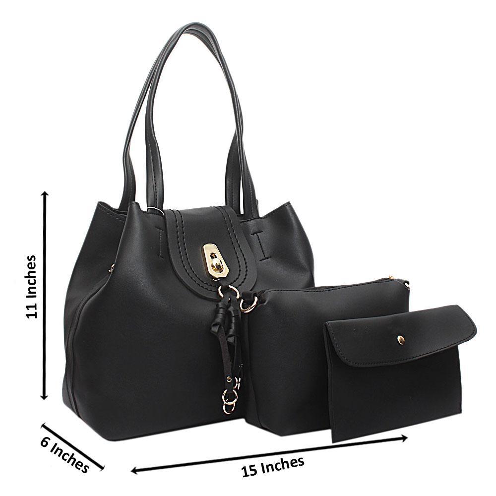 Black Leather Medium Ella Handbag