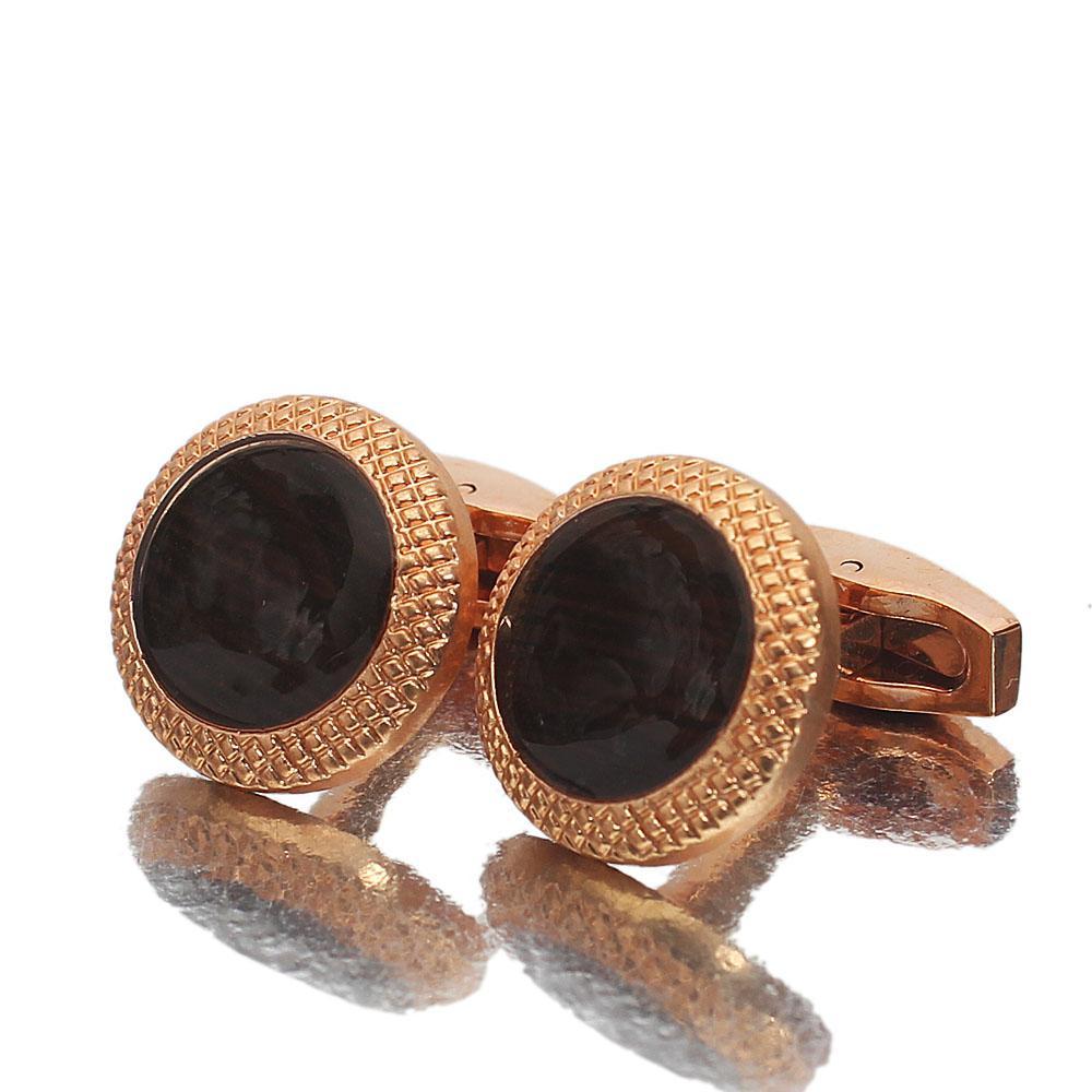 Rose Gold Black Ceramic Stainless Steel Cufflinks