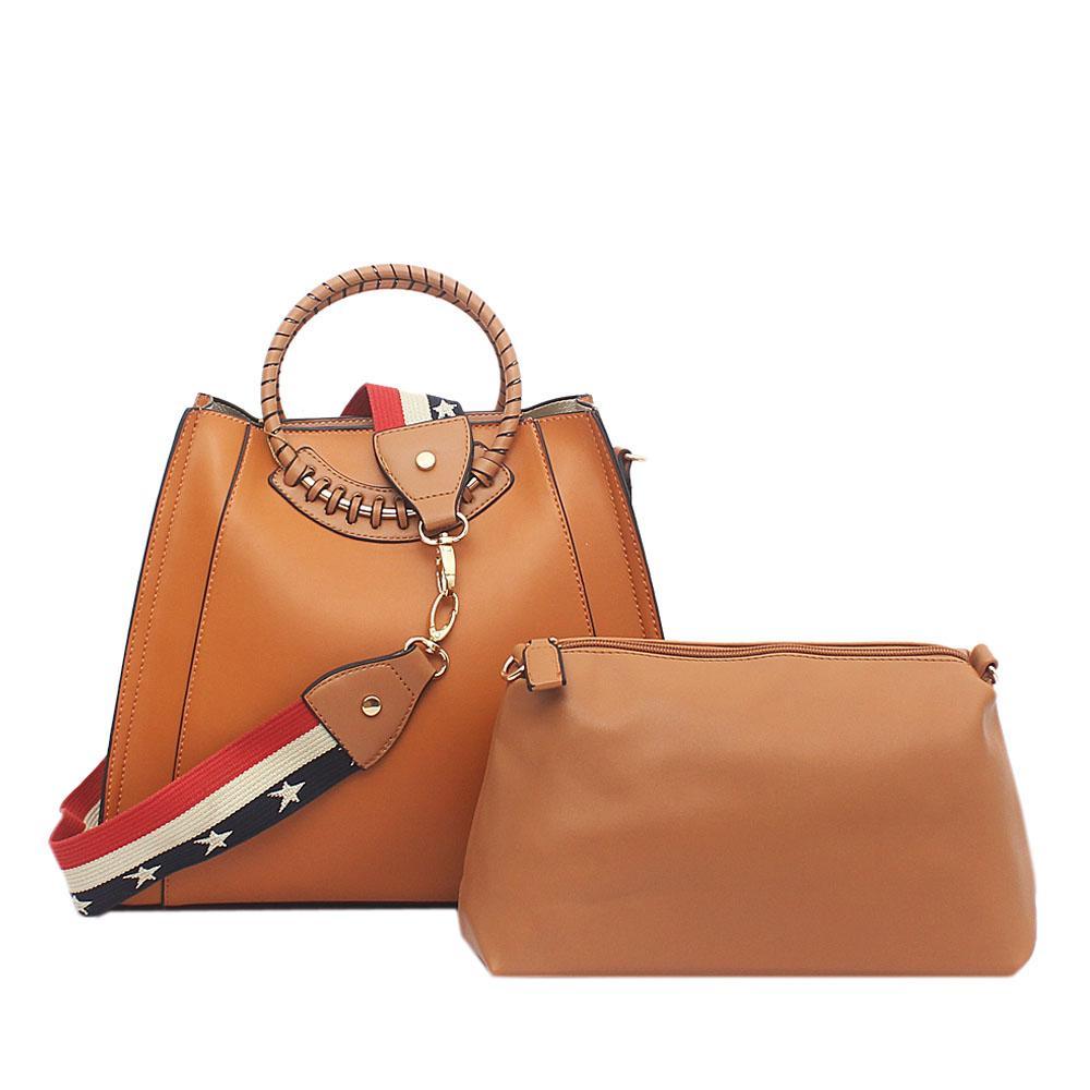 Tosoco Brown Leather Handbag Wt Purse