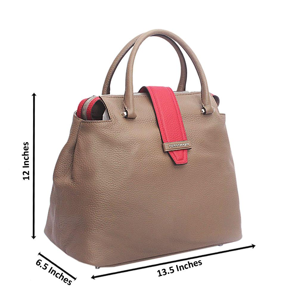 Forstmann Ophelia Khaki Red Cow-Leather Tote Handbag