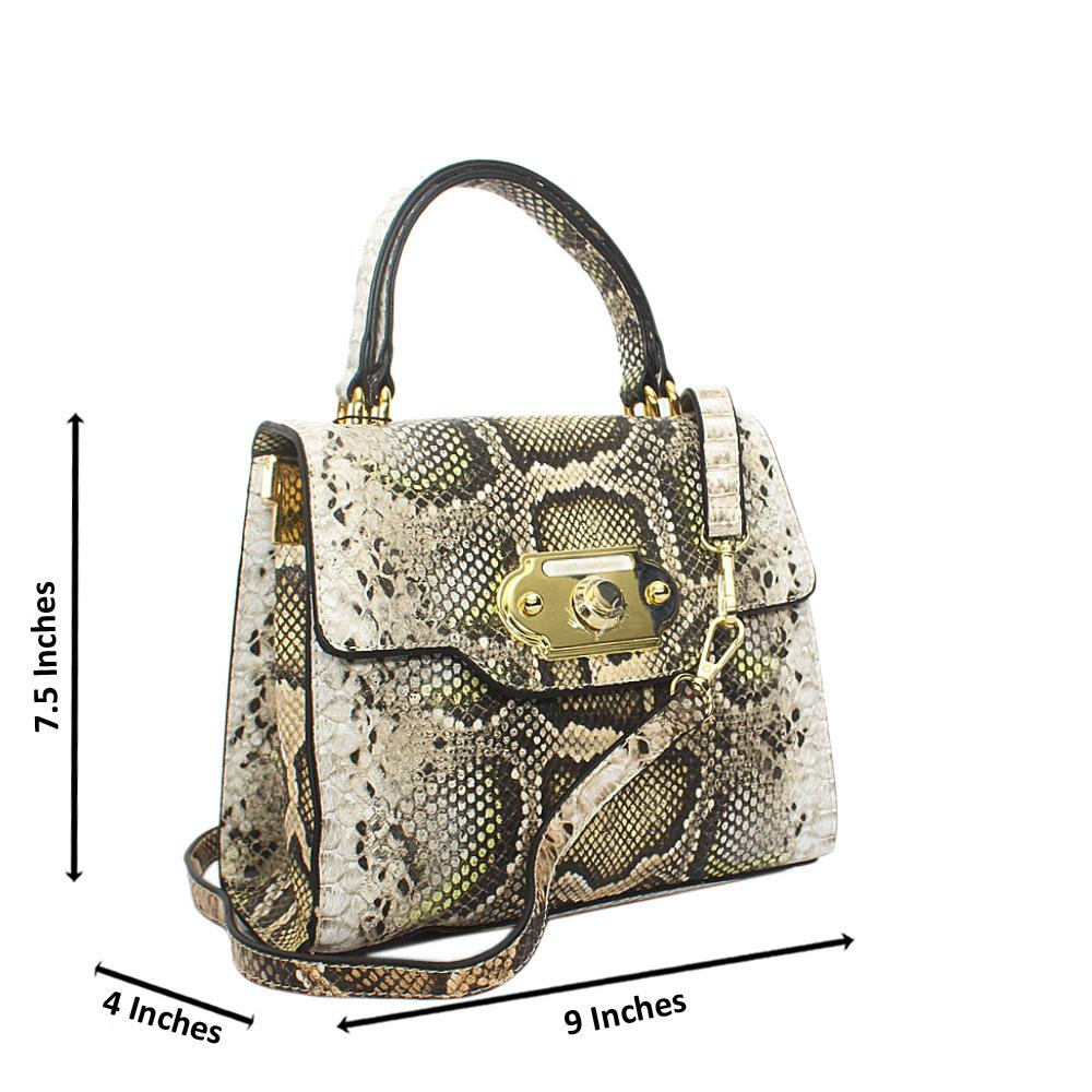 Cream Mix Snake Styled Leather Small Top Handle Handbag
