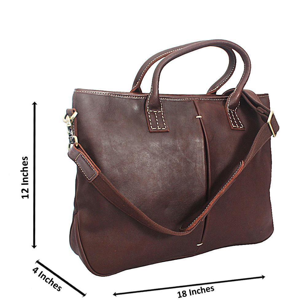 Coffee Smooth Grain Leather Tote Man Bag