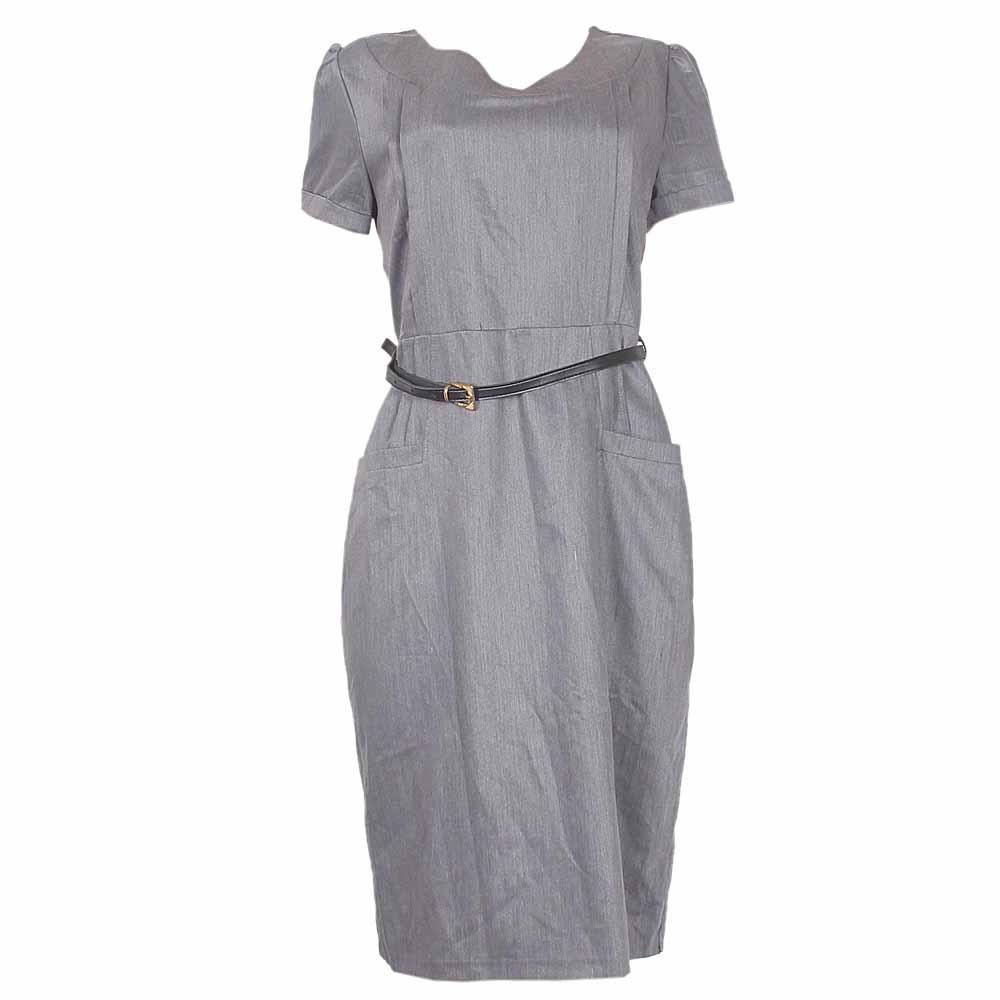 Rita Grey Ladies Dress With Belt-Eur54
