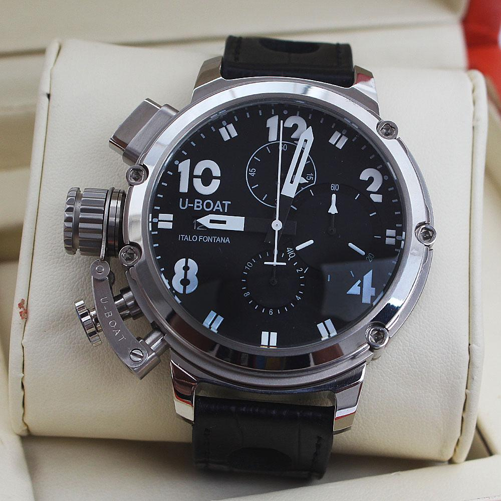 Italo Fontana Black Leather Silver Men Watch