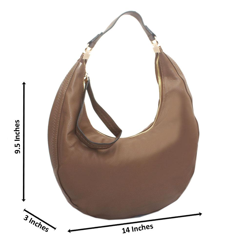 Deep Brown Leather Half Moon Handbag