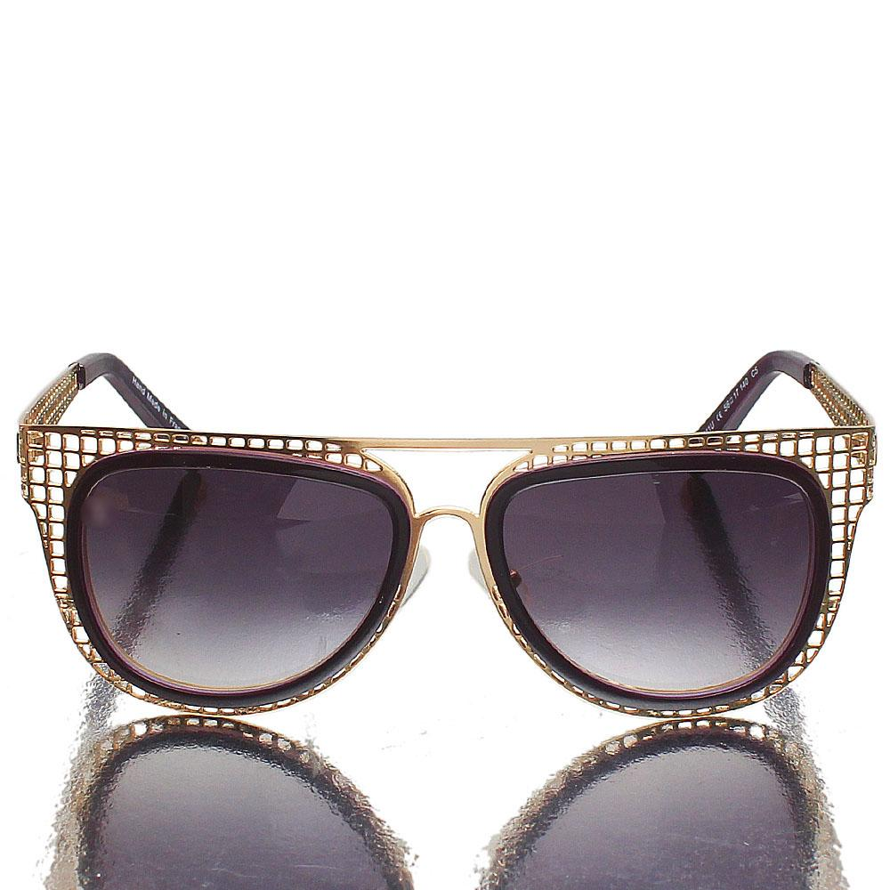 Gold Purple Oblong Dark Lens Sunglasses