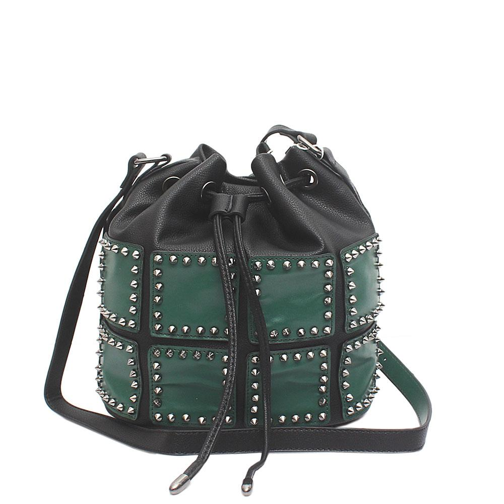 Safari Club Black Green Studded Leather Bucket Bag
