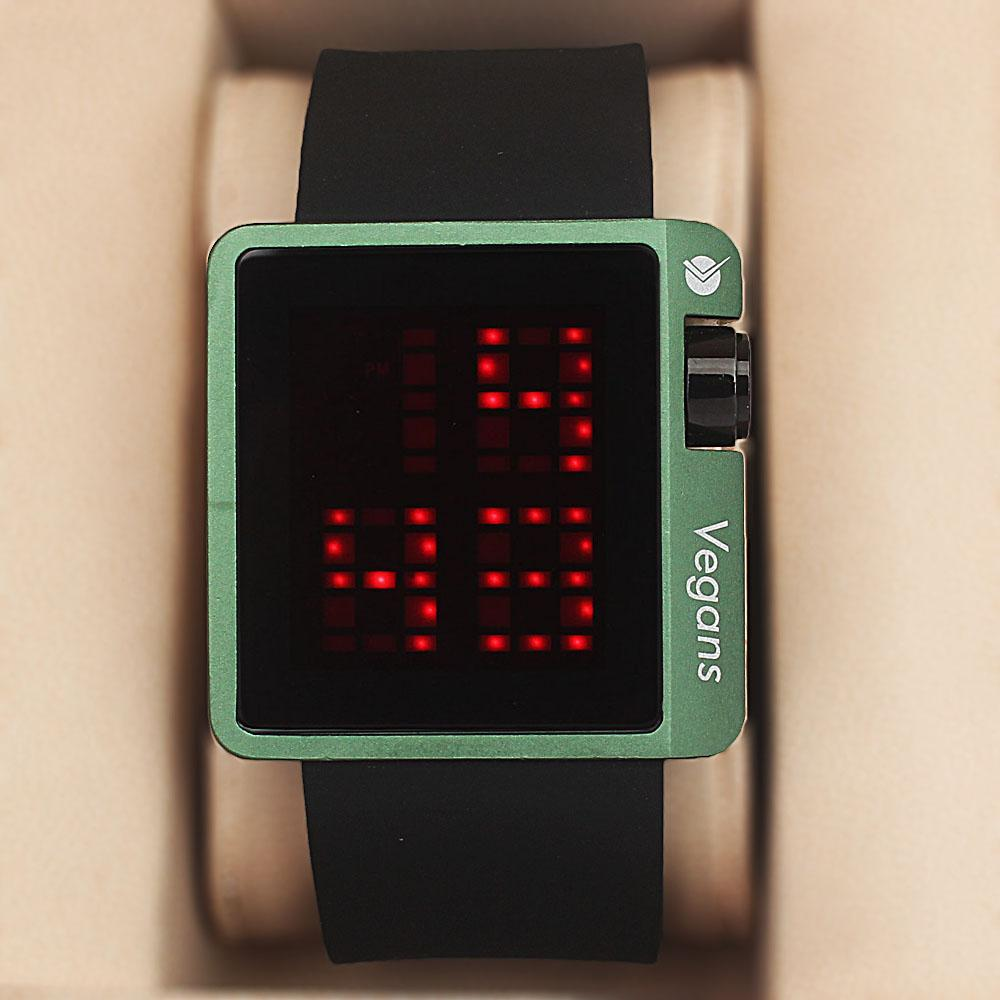 Vegans Black Green Rubber 3 ATM Water Resistant Digital Watch