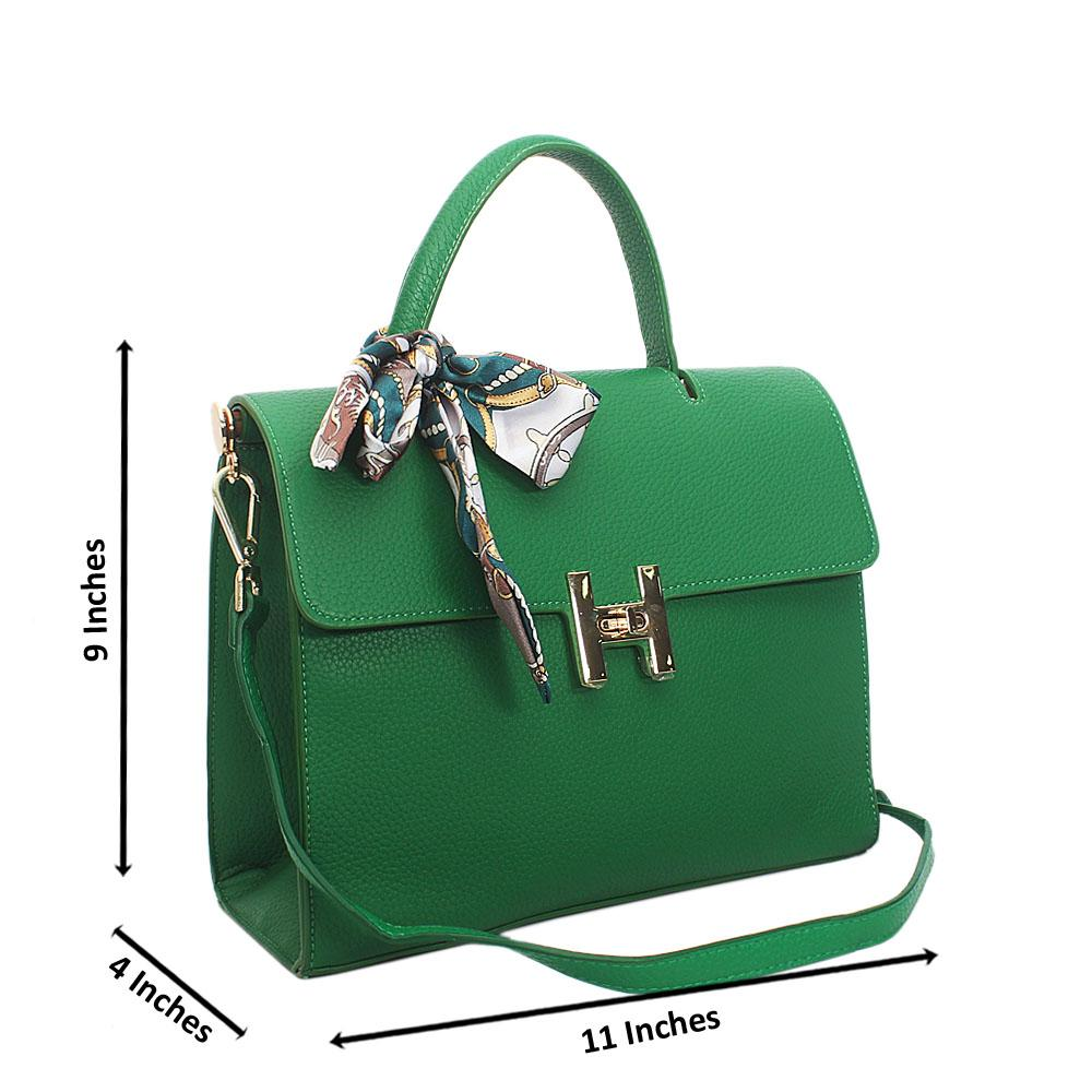 Green Hand Pebbled Leather Top Handle Handbag
