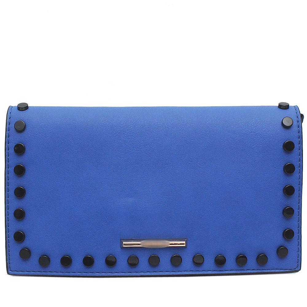 Blue Studded Leather Flat Clutch