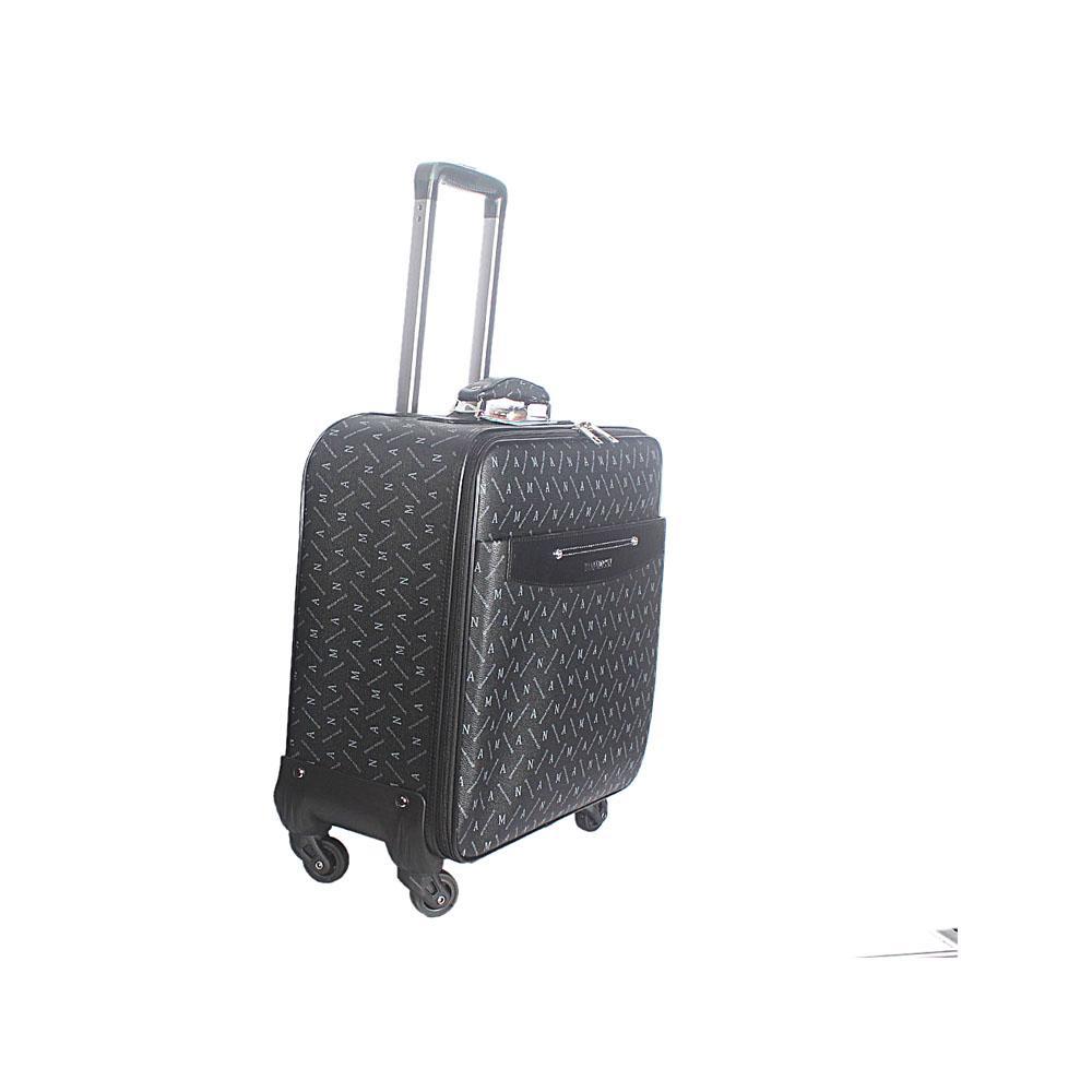 Black Gray 16 Inch Leather Pilot Suitcase Wt Lock
