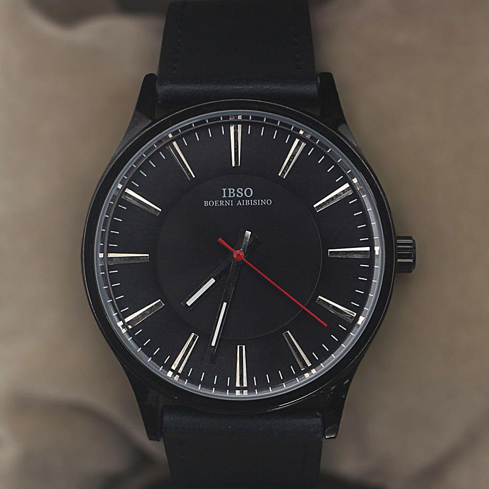 Classic Navy Leather Flat Watch