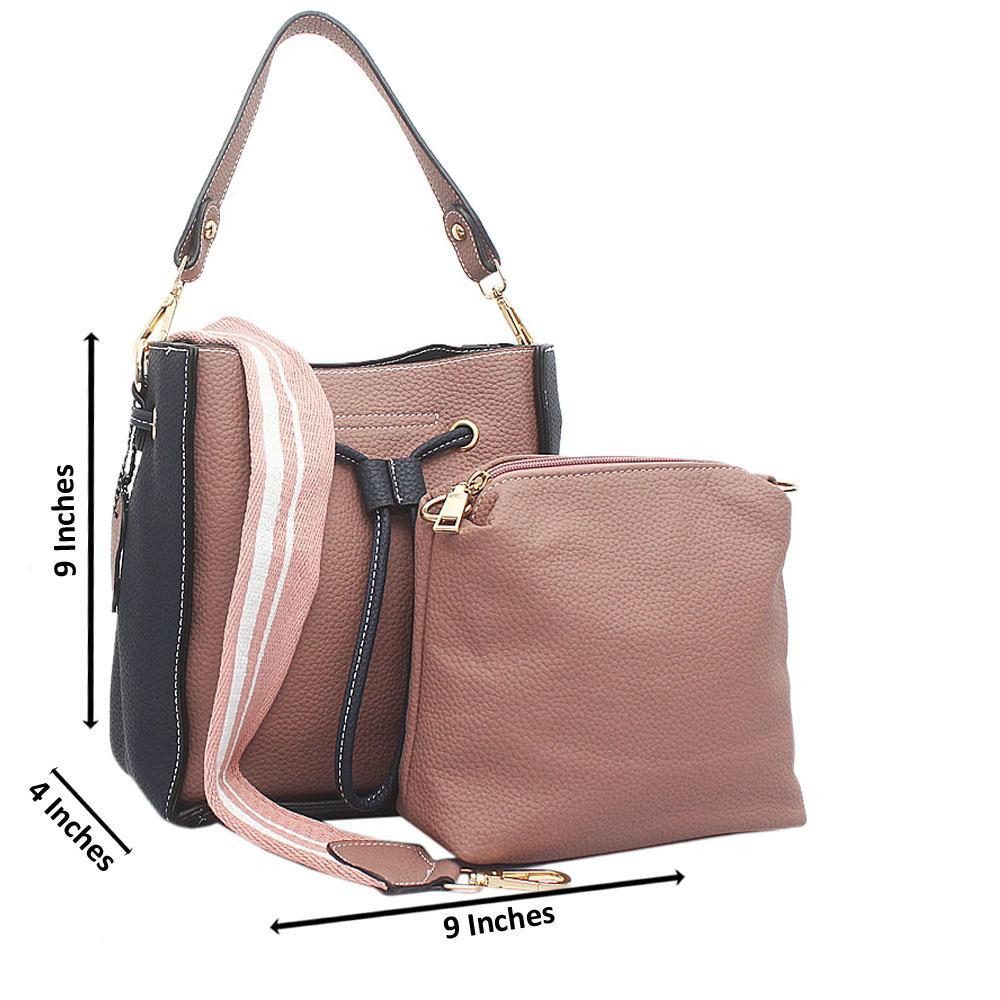 Navy Peach Leather Medium Ellen Bag