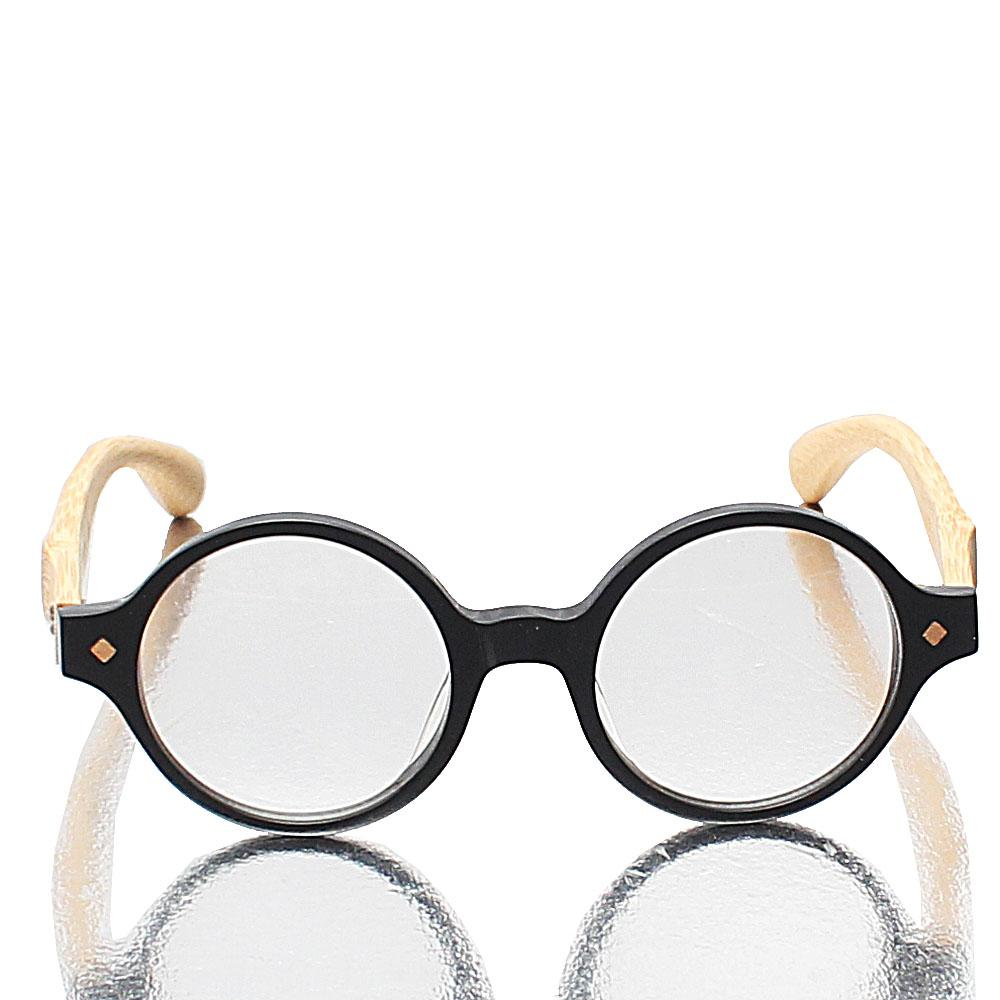 Black Round Wooden Temple Transparent Len Glasses