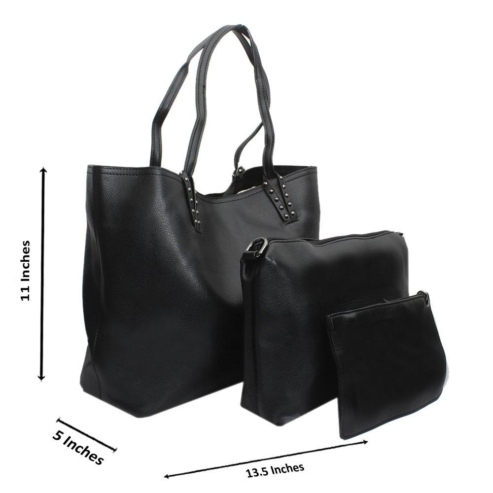Black Montana Leather Medium 3 in 1 Handbag