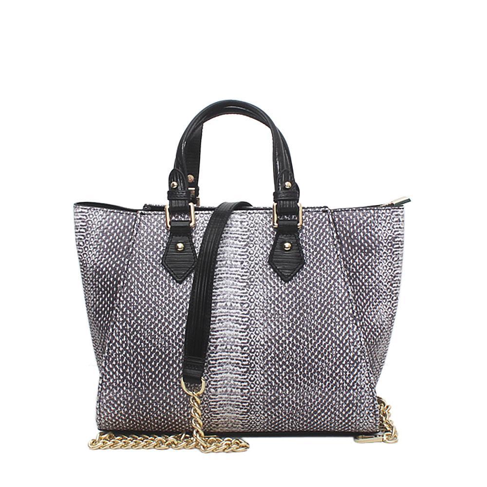 London Style Cavalier Grey Black Leather Animal Skin Small Handbag