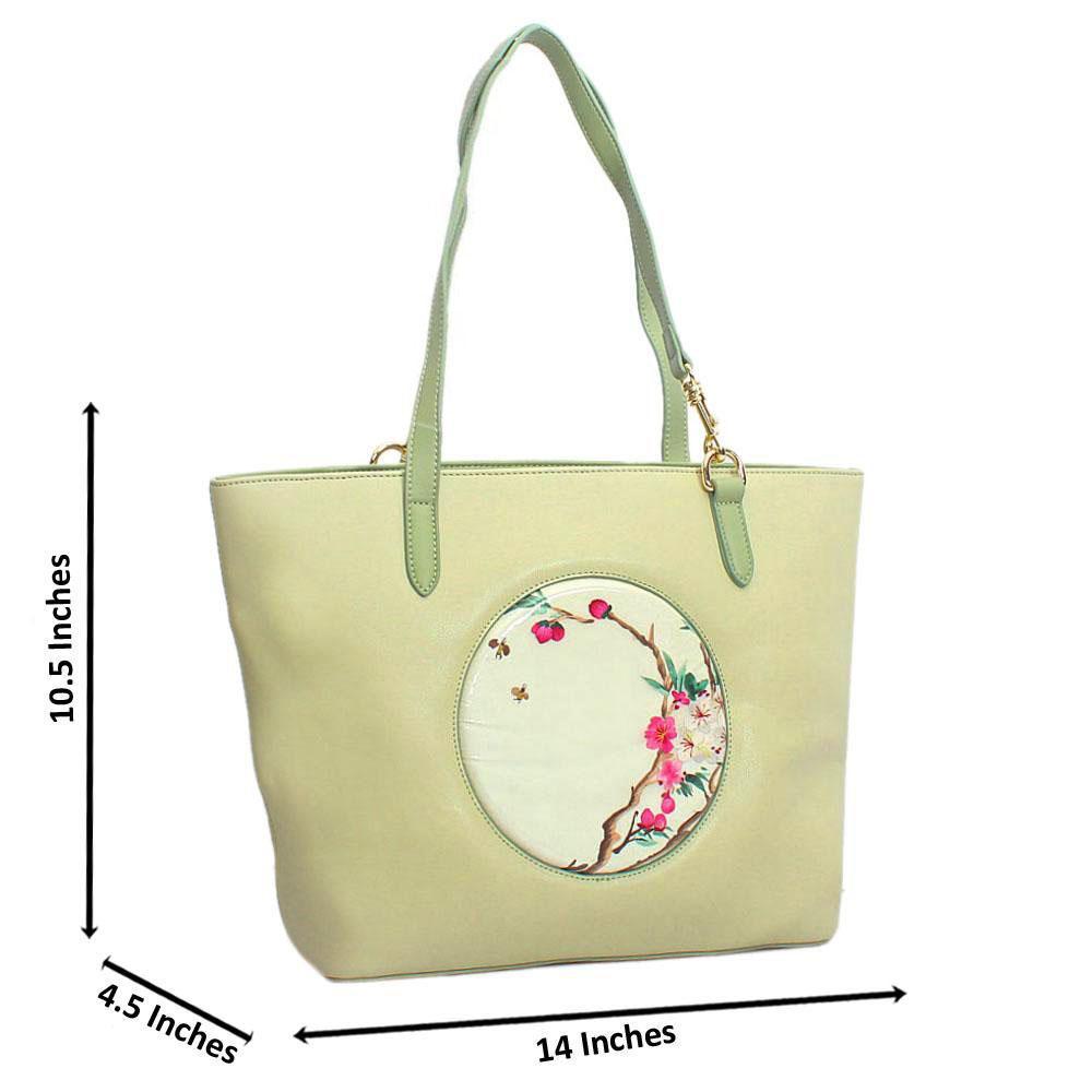 Green Spring Style Large Saffiano Leather Shoulder Handbag