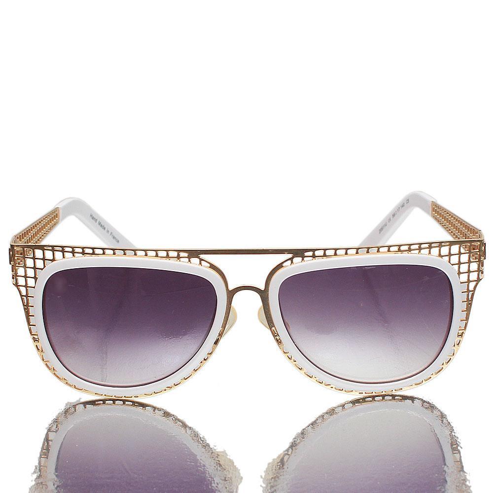 Gold White Oblong Dark Lens Sunglasses