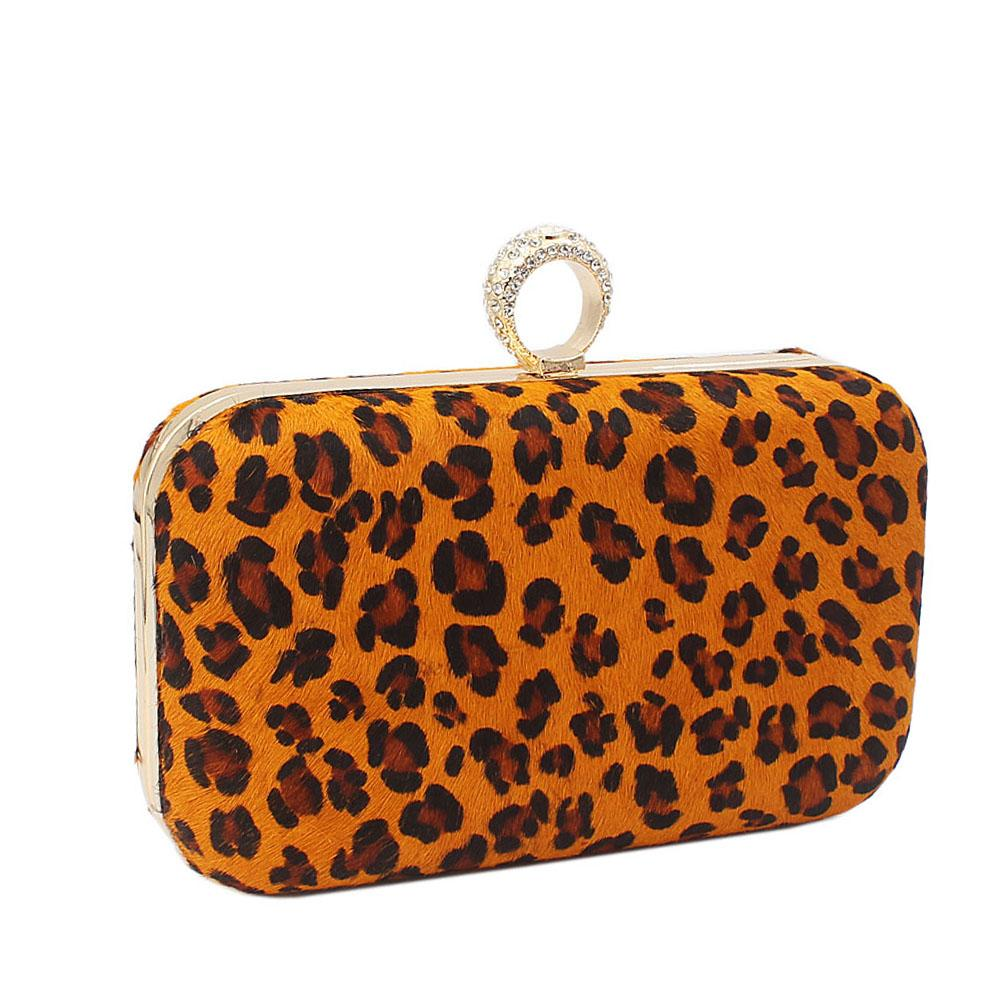 Faux Leopard Skin Clutch Purse