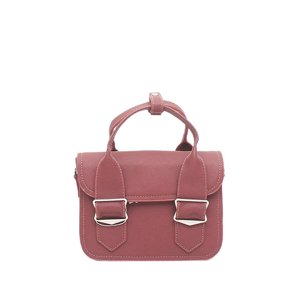 London Style Peach Leather Mini Handbag
